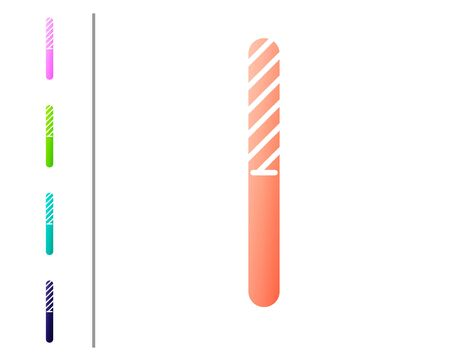 Coral Nail file icon isolated on white background. Manicure tool. Set color icons. Vector Illustration