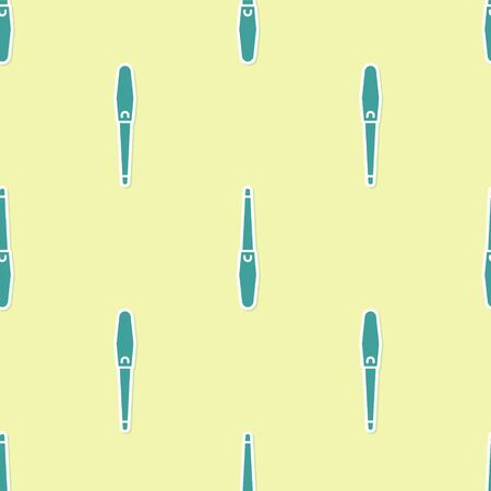 Green Nail file icon isolated seamless pattern on yellow background. Manicure tool. Vector Illustration Çizim