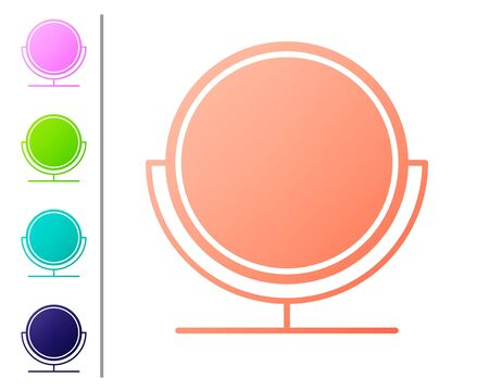 Coral Round makeup mirror icon isolated on white background. Set color icons. Vector Illustration