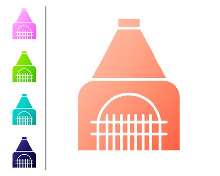 Coral Interior fireplace icon isolated on white background. Set color icons. Vector Illustration Illustration