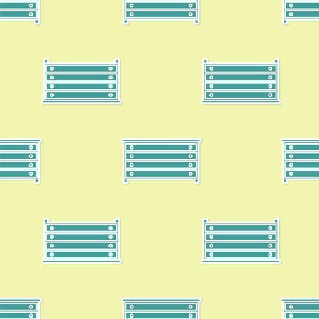Green Chest of drawers icon isolated seamless pattern on yellow background. Vector Illustration