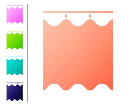 Coral Curtains icon isolated on white background. Set color icons. Vector Illustration Stock Illustratie