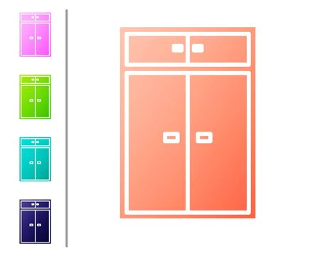 Coral Wardrobe icon isolated on white background. Set color icons. Vector Illustration