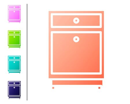 Coral Furniture nightstand icon isolated on white background. Set color icons. Vector Illustration