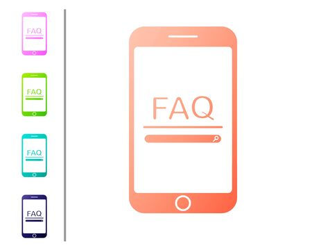 Coral Mobile phone with text FAQ information icon isolated on white background. Frequently asked questions. Set color icons. Vector Illustration