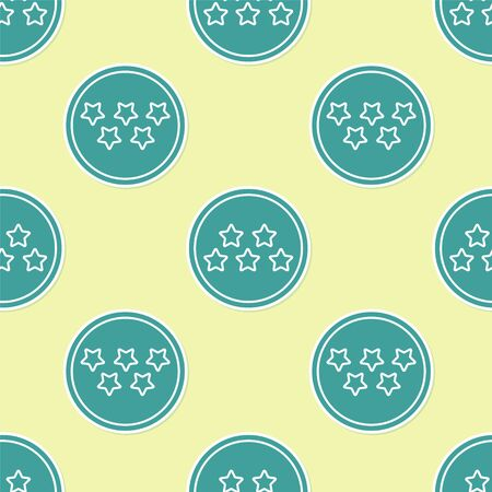 Green Five stars customer product rating review icon isolated seamless pattern on yellow background. Favorite, best rating, award symbol. Vector Illustration