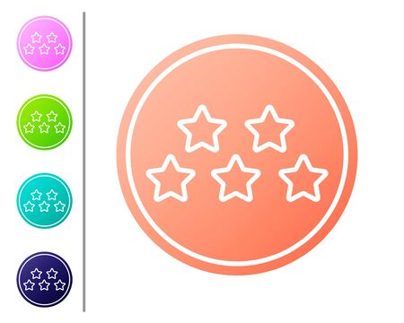 Coral Five stars customer product rating review icon isolated on white background. Favorite, best rating, award symbol. Set color icons. Vector Illustration 向量圖像