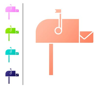 Coral Open mail box icon isolated on white background. Mailbox icon. Mail postbox on pole with flag. Set color icons. Vector Illustration