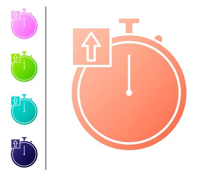 Coral Stopwatch icon isolated on white background. Time timer sign. Chronometer sign. Set color icons. Vector Illustration