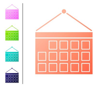 Coral Calendar icon isolated on white background. Event reminder symbol. Set color icons. Vector Illustration