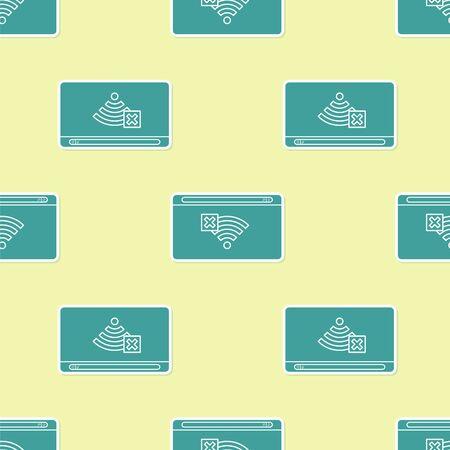 Verde No hay icono de conexión a Internet aislado de patrones sin fisuras sobre fondo amarillo. No hay wifi inalámbrico ni señal para acceso remoto a Internet. Ilustración vectorial