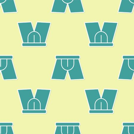 Green Men underpants icon isolated seamless pattern on yellow background. Man underwear. Vector Illustration Illustration
