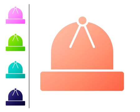 Coral Winter hat icon isolated on white background. Set color icons. Vector Illustration