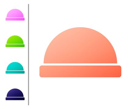 Coral Beanie hat icon isolated on white background. Set color icons. Vector Illustration