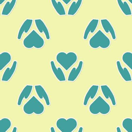 Green Heart on hand icon isolated seamless pattern on yellow background. Hand giving love symbol. Valentines day symbol. Vector Illustration Çizim