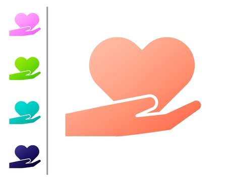 Coral Heart on hand icon isolated on white background. Hand giving love symbol. Valentines day symbol. Set color icons. Vector Illustration Çizim