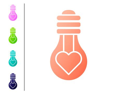 Coral Heart shape in a light bulb icon isolated on white background. Love symbol. Valentine day symbol. Set color icons. Vector Illustration