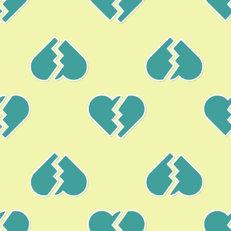 Green Broken heart or divorce icon isolated seamless pattern on yellow background. Love symbol. Valentines day. Vector Illustration Иллюстрация