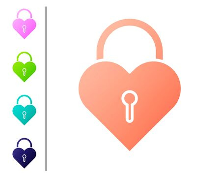 Coral Castle in the shape of a heart icon isolated on white background. Locked Heart. Love symbol and keyhole sign. Set color icons. Vector Illustration 向量圖像