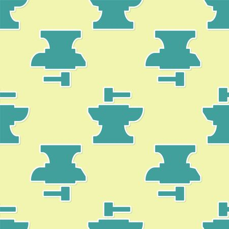 Green Anvil for blacksmithing and hammer icon isolated seamless pattern on yellow background. Metal forging. Forge tool. Vector Illustration