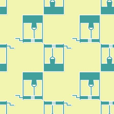 Green Well con un secchio e un'icona di acqua potabile isolato modello senza cuciture su sfondo giallo. illustrazione vettoriale