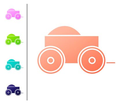 Coral Wooden four-wheel cart with hay icon isolated on white background. Set color icons. Vector Illustration