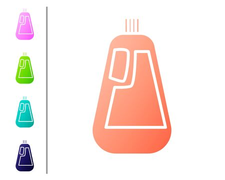 Coral Plastic bottle for liquid laundry detergent, bleach, dishwashing liquid icon isolated on white background. Set color icons. Vector Illustration