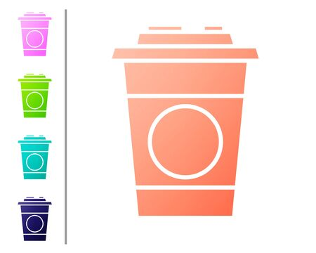 Coral Paper glass icon isolated on white background. Soda drink glass. Fresh cold beverage symbol. Set color icons. Vector Illustration Ilustracja