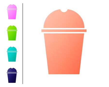 Coral Paper glass and water icon isolated on white background. Soda drink glass. Fresh cold beverage symbol. Set color icons. Vector Illustration