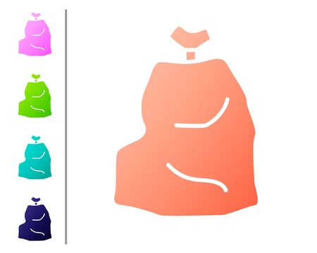 Coral Garbage bag icon isolated on white background. Set color icons. Vector Illustration