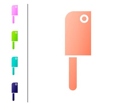 Coral Meat chopper icon isolated on white background. Kitchen knife for meat. Butcher knife. Set color icons. Vector Illustration