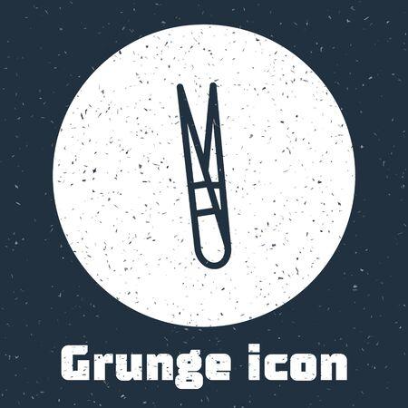 Grunge line Eyebrow tweezers icon isolated on grey background. Cosmetic tweezers for ingrown hair. Monochrome vintage drawing. Vector Illustration Ilustração