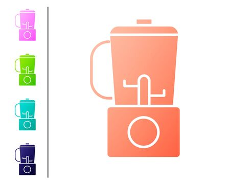 Coral Blender icon isolated on white background. Kitchen electric stationary blender with bowl. Cooking smoothies, cocktail or juice. Set color icons. Vector Illustration Çizim