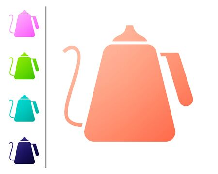 Coral Kettle with handle icon isolated on white background. Teapot icon. Set color icons. Vector Illustration