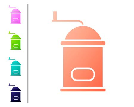 Coral Manual coffee grinder icon isolated on white background. Set color icons. Vector Illustration Stok Fotoğraf - 138739002