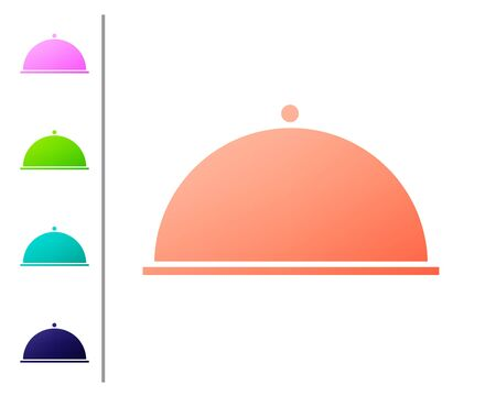 Coral Covered with a tray of food icon isolated on white background. Tray and lid. Restaurant cloche with lid. Kitchenware symbol. Set color icons. Vector Illustration
