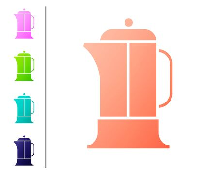 Coral French press icon isolated on white background. Set color icons. Vector Illustration