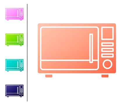 Coral Microwave oven icon isolated on white background. Home appliances icon. Set color icons. Vector Illustration