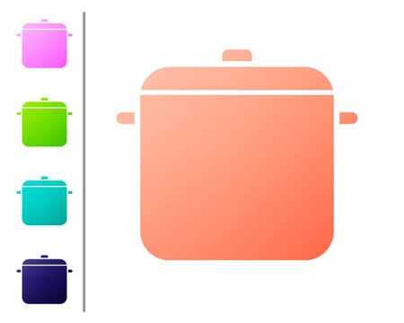Coral Cooking pot icon isolated on white background. Boil or stew food symbol. Set color icons. Vector Illustration