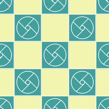 Green Ventilation icon isolated seamless pattern on yellow background. Vector Illustration