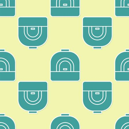Green Oven icon isolated seamless pattern on yellow background. Stove gas oven sign. Vector Illustration