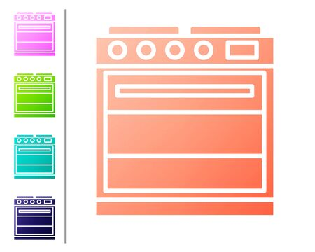 Coral Oven icon isolated on white background. Stove gas oven sign. Set color icons. Vector Illustration