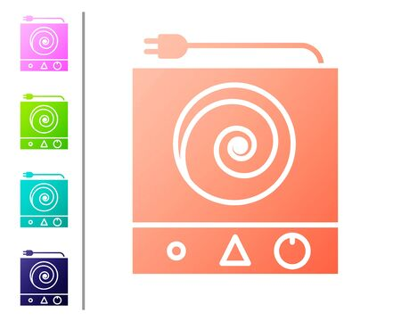 Coral Electric stove icon isolated on white background. Cooktop sign. Hob with four circle burners. Set color icons. Vector Illustration
