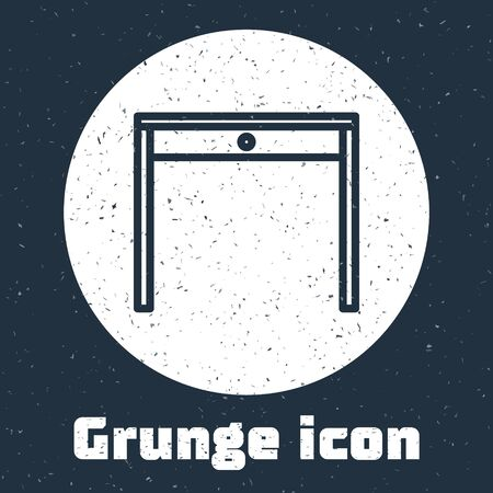 Grunge line Wooden table icon isolated on grey background. Monochrome vintage drawing. Vector Illustration