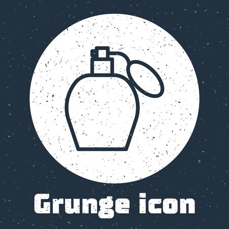 Grunge line Perfume icon isolated on grey background. Monochrome vintage drawing. Vector Illustration Stok Fotoğraf - 138738921