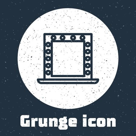Grunge line Makeup mirror with lights icon isolated on grey background. Monochrome vintage drawing. Vector Illustration