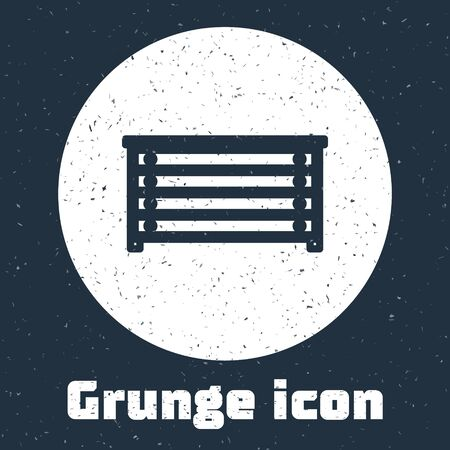 Grunge line Chest of drawers icon isolated on grey background. Monochrome vintage drawing. Vector Illustration