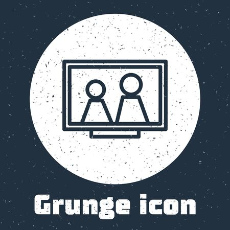 Grunge line Picture frame on table icon isolated on grey background. Monochrome vintage drawing. Vector Illustration 일러스트