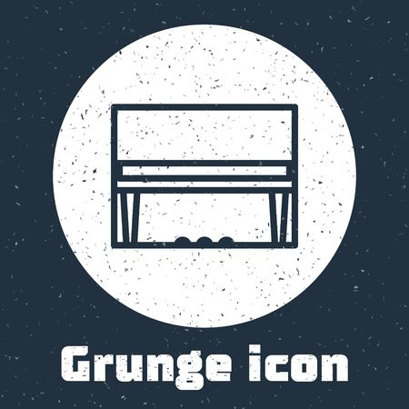 Grunge line Grand piano icon isolated on grey background. Musical instrument. Monochrome vintage drawing. Vector Illustration 일러스트