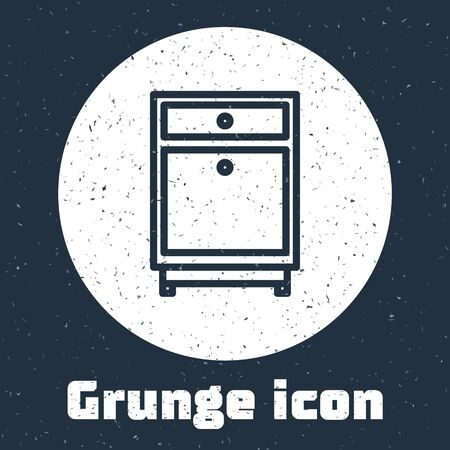 Grunge line Furniture nightstand icon isolated on grey background. Monochrome vintage drawing. Vector Illustration